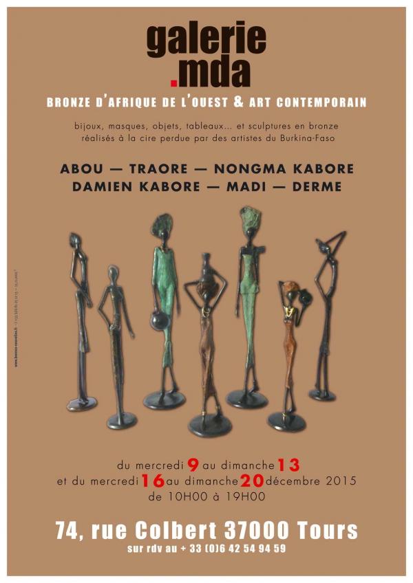 galerie,mda michelle et danielle alliot,exposition,bronze d'afrique,rue,colbert,masques,objets,sculptures,cire perdue